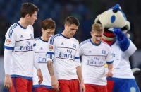 Spelers Hamburger SV vechten op de training