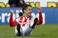 """Football Soccer - Stoke City v Swansea City  - Barclays Premier League - The Britannia Stadium - 2/4/16 Bojan Krkic celebrates after scoring the second goal for Stoke Mandatory Credit: Action Images / Craig Brough Livepic EDITORIAL USE ONLY. No use with unauthorized audio, video, data, fixture lists, club/league logos or """"live"""" services. Online in-match use limited to 45 images, no video emulation. No use in betting, games or single club/league/player publications.  Please contact your account representative for further details."""