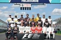 Familiefoto Melbourne F1 Verstappen Hamilton Vettel