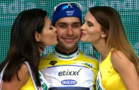 2016-07-13 00:00:00 epa05423433 The new overall leader, Columbia's Fernando Gaviria Rendon of Etixx Quick Step, celebrates on the podium after winning the second stage of the 73rd edition of the Tour de Pologne cycling race over 153 km from Tarnowskie Gory to Katowice, in Katowice, Poland, 13 July 2016.  EPA/ANDRZEJ GRYGIEL POLAND OUT