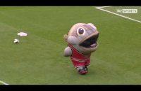 LOL! Grote mascotte 'eet' keeperstrainer helemaal op (video)