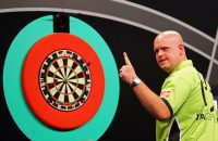 ROTTERDAM, NETHERLANDS - MAY 12:  Michael van Gerwen of the Netherlands celebrates a shot in his match against Phil 'The Power' Taylor of England during the Darts Betway Premier League Night 15 at Rotterdam Ahoy on May 12, 2016 in Rotterdam, .  (Photo by Dean Mouhtaropoulos/Getty Images)