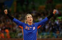 during the Women's Handball Bronze medal match between Netherlands and Norway at Future Arena on Day 15 of the Rio 2016 Olympic Games at the Future Arena on August 20, 2016 in Rio de Janeiro, Brazil.