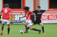 ALTRINCHAM, ENGLAND - AUGUST 20: (THE SUN OUT, THE SUN ON SUNDAY OUT) Harvey Whyte of Liverpool and Tahith Chong of Manchester United in action during the Manchester United v Liverpool U18 game on August 20, 2016 in Altrincham, England. (Photo by Nick Taylor/Liverpool FC/Liverpool FC via Getty Images)