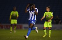 BRIGHTON, ENGLAND - SEPTEMBER 20:  Elvis Manu of Brighton & Hove Albion reacts after seeing his shot saved during the EFL Cup Third Round match between Brighton & Hove Albion and Reading at Amex Stadium on September 20, 2016 in Brighton, England.  (Photo by Mike Hewitt/Getty Images)