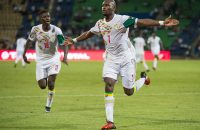 FRANCEVILLE, GABON - JANUARY 23: MOUSSA SOW of Senegal celebrates his goal during the Group B match between Senegal and Algeria at Stade Franceville on January 23, 2017 in Franceville, Gabon. (Photo by Visionhaus/Corbis via Getty Images)