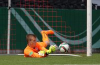 GROSSASPACH, GERMANY - JUNE 14:  Philipp Koehn of Stuttgart saves the ball during the B-juniors German championship final between VfB Stuttgart and Borussia Dortmund at mechatronik Arena on June 14, 2015 in Grossaspach, Germany.  (Photo by Thomas Niedermueller/Bongarts/Getty Images)