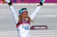 Therese Johaug na de 10 kilometer op de Olympische Spelen van 2014 in Sotsji.