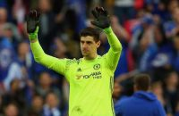 LONDON, ENGLAND - APRIL 22: Thibaut Courtois of Chelsea during the Emirates FA Cup semi-final match between Tottenham Hotspur and Chelsea at Wembley Stadium on April 22, 2017 in London, England. (Photo by Catherine Ivill - AMA/Getty Images)