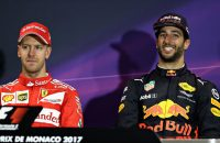 MONTE-CARLO, MONACO - MAY 28:  The post race press conference with race winner Sebastian Vettel of Germany and Ferrari and third placed Daniel Ricciardo of Australia and Red Bull Racing during the Monaco Formula One Grand Prix at Circuit de Monaco on May 28, 2017 in Monte-Carlo, Monaco.  (Photo by Mark Thompson/Getty Images)