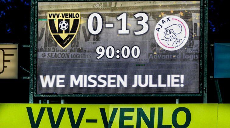 De 0-13 op het scorebord op 24 oktober in Venlo.